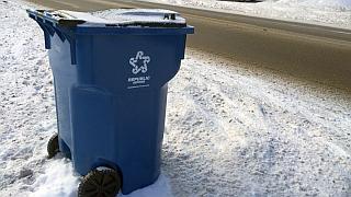 Trash toter in snow